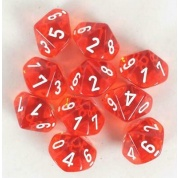 Chessex Translucent Polyhedral Ten d10 Set - Orange/white