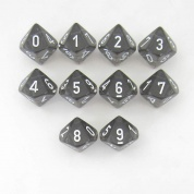 Chessex Translucent Polyhedral Ten d10 Set - Smoke/white