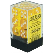 Chessex Translucent 16mm d6 with pips Dice Blocks (12 Dice) - Yellow w/white
