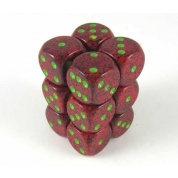 Chessex Speckled 16mm d6 with pips Dice Blocks (12 Dice) - Strawberry