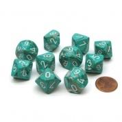 Chessex Ten D10 Sets - Marble Oxi‑Copper/white