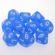 Chessex Ten D10 Sets - Frosted Blue w/white