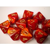 Chessex Ten D10 Sets - Scarab Scarlet w/gold