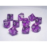 Chessex Ten D10 Sets - Festive Violet w/white