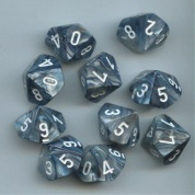 Chessex Ten D10 Sets - Lustrous Slate w/white