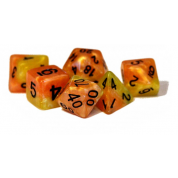 Halfsies Dice Phoenix Dice - Upgraded Dice Case (7 Polyhedral Dice Set)