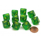 Chessex Ten D10 Sets - Borealis Maple Green/yellow