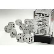 Chessex 16mm d6 with pips Dice Blocks (12 Dice) - Frosted Clear w/black