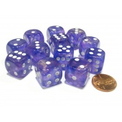 Chessex 16mm d6 with pips Dice Blocks (12 Dice) - Borealis Purple w/white