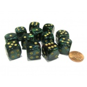 Chessex 16mm d6 with pips Dice Blocks (12 Dice) - Scarab Jade w/gold