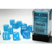 Chessex 16mm d6 with pips Dice Blocks (12 Dice) - Frosted Caribbean Blue w/white