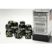 Chessex 16mm d6 with pips Dice Blocks (12 Dice) - Leaf Black Gold w/silver