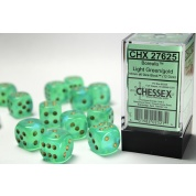 Chessex 16mm d6 with pips Dice Blocks (12 Dice) - Borealis Light Green w/gold