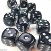 Chessex 16mm d6 with pips Dice Blocks (12 Dice) - Borealis Smoke w/silver