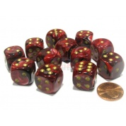 Chessex 16mm d6 with pips Dice Blocks (12 Dice) - Vortex Burgundy w/gold