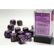 Chessex 16mm d6 with pips Dice Blocks (12 Dice) - Vortex Purple w/gold