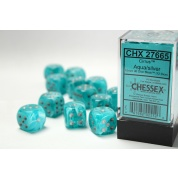 Chessex 16mm d6 with pips Dice Blocks (12 Dice) - Cirrus Aqua w/silver