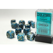 Chessex 16mm d6 with pips Dice Blocks (12 Dice) - Phantom Teal w/gold