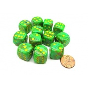 Chessex 16mm d6 with pips Dice Blocks (12 Dice) - Vortex Slime/yellow