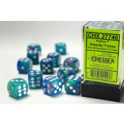 Chessex 16mm d6 with pips Dice Blocks (12 Dice) - Festive Waterlily/white