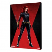 BLACK WIDOW MOVIE - WOODEN PANEL 09 - BW red room 33.7 x 50 cm