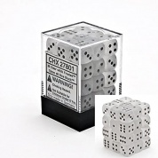 Chessex Signature 12mm d6 with pips Dice Blocks (36 Dice) - Frosted Clear w/black