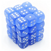 Chessex Signature 12mm d6 with pips Dice Blocks (36 Dice) - Frosted Blue w/white