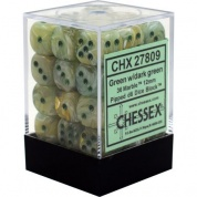 Chessex Signature 12mm d6 with pips Dice Blocks (36 Dice) - Marble Green w/dark green