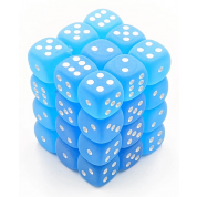 Chessex Signature 12mm d6 with pips Dice Blocks (36 Dice) - Frosted Caribbean Blue w/white