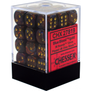 Chessex Signature 12mm d6 with pips Dice Blocks (36 Dice) - Scarab Blue Blood w/gold