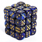 Chessex Signature 12mm d6 with pips Dice Blocks (36 Dice) - Scarab Royal Blue w/gold