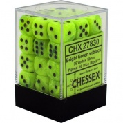 Chessex Signature 12mm d6 with pips Dice Blocks (36 Dice) - Vortex Bright Green w/black