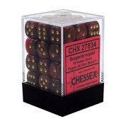 Chessex Signature 12mm d6 with pips Dice Blocks (36 Dice) - Vortex Burgundy w/gold