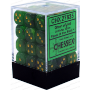 Chessex Signature 12mm d6 with pips Dice Blocks (36 Dice) - Vortex Green w/gold