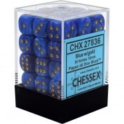 Chessex Signature 12mm d6 with pips Dice Blocks (36 Dice) - Vortex Blue w/gold