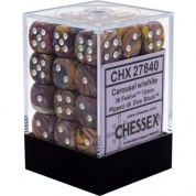 Chessex Signature 12mm d6 with pips Dice Blocks (36 Dice) - Festive Carousel w/white