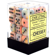 Chessex Signature 12mm d6 with pips Dice Blocks (36 Dice) - Festive Circus w/black