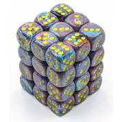 Chessex Signature 12mm d6 with pips Dice Blocks (36 Dice) - Festive Mosaic/yellow