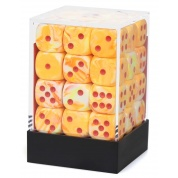Chessex Signature 12mm d6 with pips Dice Blocks (36 Dice) - Festive Sunburst w/red