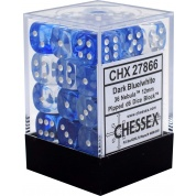 Chessex Signature 12mm d6 with pips Dice Blocks (36 Dice) - Nebula Dark Blue w/white