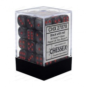 Chessex Signature 12mm d6 with pips Dice Blocks (36 Dice) - Velvet Black w/red