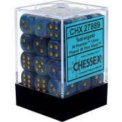 Chessex Signature 12mm d6 with pips Dice Blocks (36 Dice) - Phantom Teal w/gold