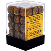 Chessex Signature 12mm d6 with pips Dice Blocks (36 Dice) - Lustrous Gold w/silver