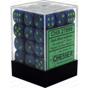 Chessex Signature 12mm d6 with pips Dice Blocks (36 Dice) - Lustrous Dark Blue w/green
