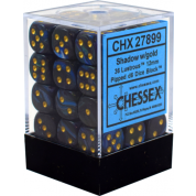 Chessex Signature 12mm d6 with pips Dice Blocks (36 Dice) - Lustrous Shadow w/gold