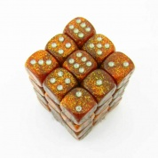 Chessex Signature 12mm d6 with pips Dice Blocks (36 Dice) - Glitter Polyhedral Gold/silver