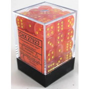 Chessex Signature 12mm d6 with pips Dice Blocks (36 Dice) - Ghostly Glow Orange/yellow