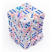 Chessex Signature 12mm d6 with pips Dice Blocks (36 Dice) - Festive Pop Art /blue