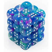Chessex Signature 12mm d6 with pips Dice Blocks (36 Dice) - Festive Waterlily/white