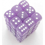 Chessex Signature 12mm d6 with pips Dice Blocks (36 Dice) - Frosted Polyheral Purple/white